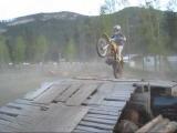 Funny dirt bike crash into fence