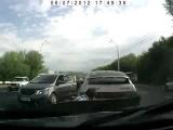 scary fast car accident in Russia Kia Rio crash