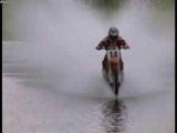 Dirtbike crosses lake
