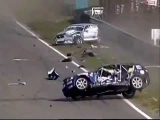 Car accident and car moving roundly through road