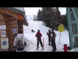 Hilarious first attempt of a drag lift on a snowboard