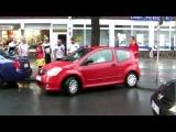 Parking Woman celebrated by drunk german fans