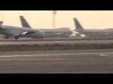 Iran air Boeing 727 crash lands with stuck nose gear
