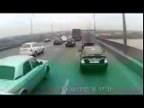 Broken brakes-truck and car pile up in Russia!  .