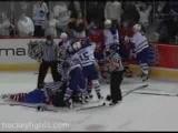 Alexei Kovalev elbows and fights Darcy Tucker