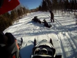 BLOOPERS, RANGELEY MAINE SNOWMOBILE, CRASH
