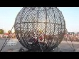 The Globe of Death Steel Ball Extreme Motorcycle Stunt Show Nerveless Nocks Stunt Show Pioneers & Worlds Youngest Globe Rider.
