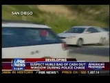 DRUG DEALER THROWING CASH FROM WINDOW DURING POLICE CHASE. PEOPLE RUN INTO STREET FOR MONEY